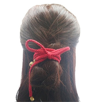 FANTAC CRAFTS 47Inches Vintage Red Hair Band Long String Hair Rope Ring Jingle Bell Accessories