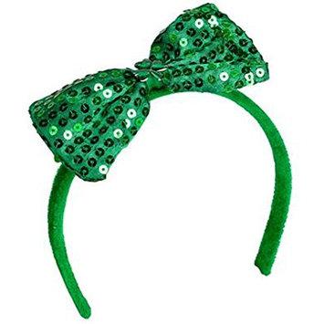 St Patricks Day Irish Shamrock Sequin Bow Headband (1 Per Order)