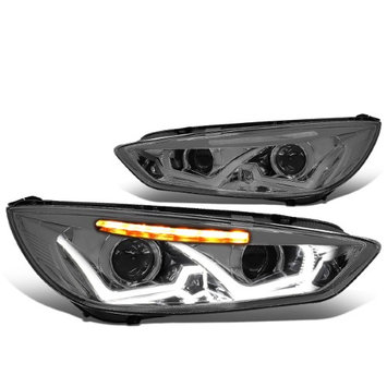 Dna Motoring 15-17 Ford Focus Pair of Dual U-HALO DRL + LED Turn Signal Projector Headlight (Smoked Lens Clear Signal)