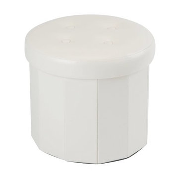 Kennedy International Inc Round Folding Faux Leather Ottoman-Ivory 15d.+ 4 Buttons on Top