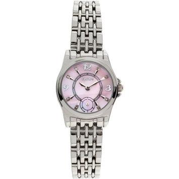 Elgin Women's Silver-Tone Light Pink Mother of Pearl Multifunction Dial Bracelet Watch