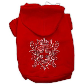Mirage Pet Products 8-Inch Rhinestone Fleur De Lis Shield Hoodies, X-Small, Red
