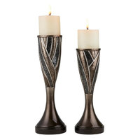 Ore Furniture K-4292C 12 In, 14 in. Kairavi Candleholder, Gold Brown (Pack of 2)