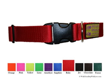Walk Your Dog With Love Colorful Quality Dog Collars, Sport Edition, Sizes For Any Dog, Ruby Red