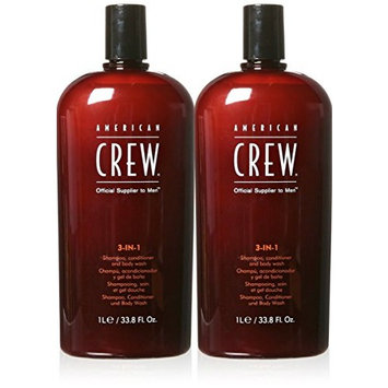 American Crew 3-in-1 Shampoo and Conditioners, 33.8 Fluid Ounce 2pk