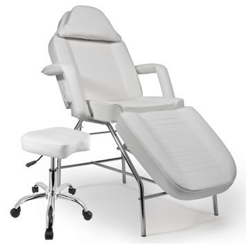 Saloniture Professional Multi-purpose Salon Chair / Massage Table with Adjustable Stool - White