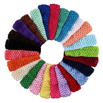 25 Pcs Colourful Elastic Crochet Headbands Hair Accessories - 1.5 Inch Width Stretch Hair Bands DIY Head Flower and Bows Accessories