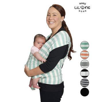 Baby Wrap, Sling, Infant Carrier, Nursing Cover, Soft Cotton, Baby Shower Gift, Hands Free Newborn 5in1 Adjustable Ring Compatible, Belly Band Support, Gray, 6 Colors Black by Lil One Baby Gear