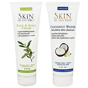 Skin by Ann Webb Face & Body Cream + Coconut Water Sensitive Skin Cleanser with Olive Oil, Hyaluronic Acid, Jojoba Seed Oil,Cucumber Extract, Witch Hazel and Jasmine Extract, 8 oz and 4 oz