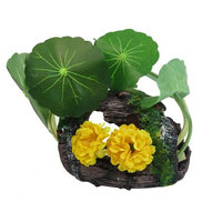 Fish Tank Landscaping Simulation Barrel Style Water Lily Yellow Floral Ornament
