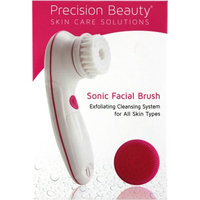 Precision Beauty Sonic Facial Brush with 1 Nylon & 1 Silicone Brush Head