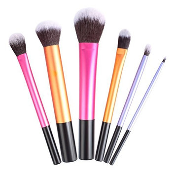 6 Pcs Makeup Brushes Set Eye Shadow Eyeliner Cosmetic Make Up Tool Professional Natural Beauty Palette Eyeshadow Cute Popular Eyes Faced Colorful Rainbow Hair Highlights Glitter Girls Travel Kit