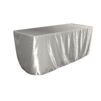LA Linen TCbridal-fit-96x48x30-SilverB41 Fitted Bridal Satin Tablecloth Silver - 96 x 48 x 30 in.