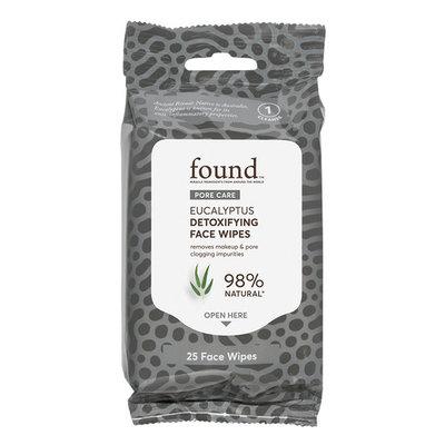FOUND PORE CARE Eucalyptus Detoxifying Face Wipes, 25 Count