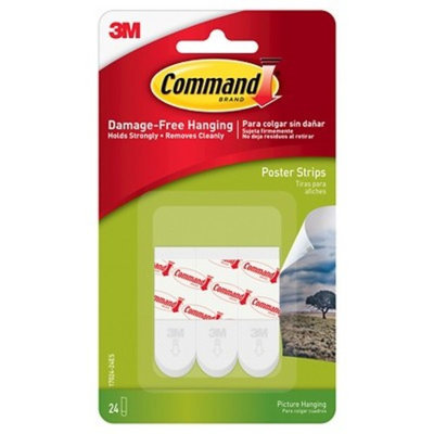 3M Command™ Small Poster Strips, White, 24 Strips