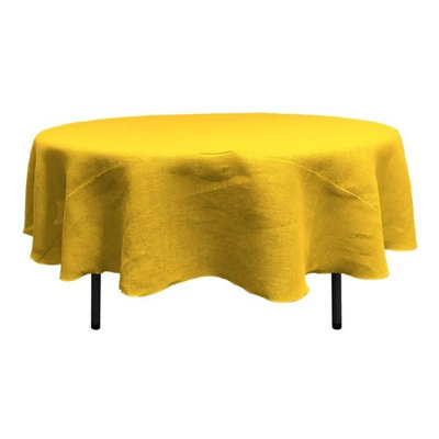 LA Linen TCBurlap72R-Yellow Round Dyed Natural Burlap Tablecloth Yellow - 72 in.