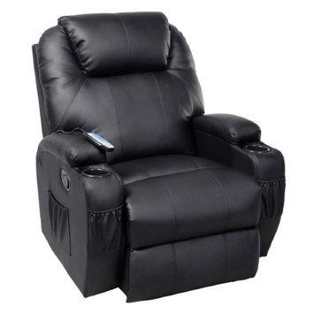 Costway Massage Recliner Sofa Chair Deluxe Ergonomic Lounge Heated w/ Control Black