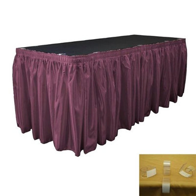 LA Linen SkirtBridal17X29-10Lclips-EggplantB42 Bridal Satin Table Skirt with 10 L-Clips Eggplant - 17 ft. x 29 in.