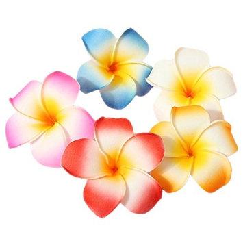 10 Pcs 7cm Multicolor Hawaiian Hair Clip Beach Foam Flower Headpieces for Wedding Party Accessories