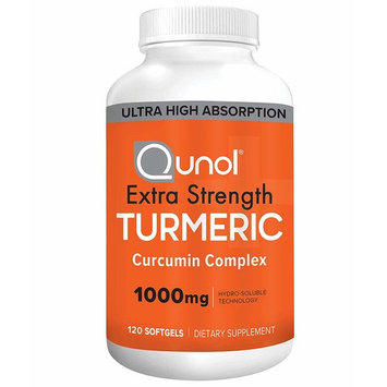 Turmeric Curcumin Softgels, Qunol with Ultra High Absorption 1000mg, Joint Support, Dietary Supplement, Extra Strength, 120 Count [Turmeric Softgels]