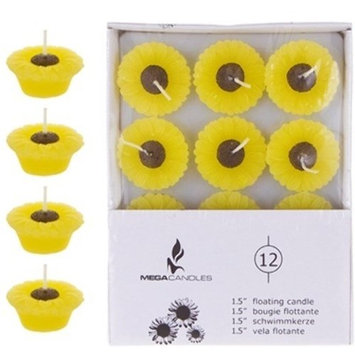 DDI 1996318 12 Piece 1.5 in. Unscented Floating Sun Flower Candle in White Box44; Case 48