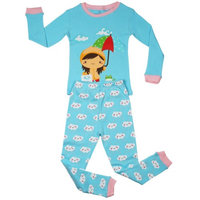 Elowel Pajamas Elowel Big Girls Blue Rainy Girl Long Sleeve Cotton 2 Pc Pajama Set 7