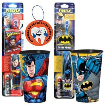 Super Hero Inspired Batman Vs. Superman 4pc Bright Smile Oral Hygiene Set! Includes Turbo Power Toothbrushes & Matching Mouthwash Rinse Cup! Plus Bonus