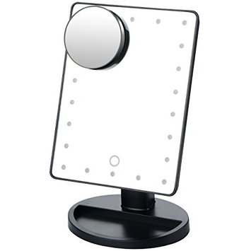 LED Vanity Mirror, Touch Screen 22 LED Lighted Make Up Mirror w/ Removable 10x Magnifying Mirror Rotation Tabletop Stand - Christmas Valentine's Present Gift for Girls Women