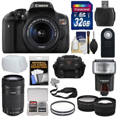 Canon EOS Rebel T6i Wi-Fi Digital SLR Camera & EF-S 18-55mm IS STM Lens with 55-250mm IS Lens + 32GB Card + Case + Filters + Flash + Tele/Wide Lens Kit + CANON USA Warranty
