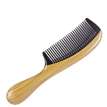Vinmax Ox Horn & Green Sandalwood Comb Anti-static Wooden Handle Comb Natural Lines Handle Hair Comb Hair Style Tool for Women Beauty