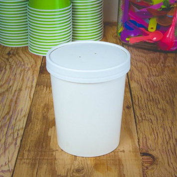 Frozen Dessert Supplies White Paper Ice Cream Containers Half Pint 32 oz - Frozen Dessert Containers With Lids - Heavy Duty Freezer Containers for Storage! 25 Count
