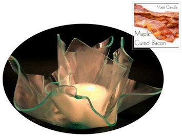 Vase Candle Maple Cured Bacon (2 Candles) and a Clear Satin Set One Refillable Vase and one Dish (Pack of 4)