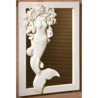 Flowing Hair Mermaid Adorned 14 Inch Wall Mirror Beach House Decor