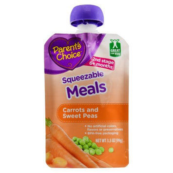 Wal-mart Stores, Inc. Parent's Choice Squeezable Meals, Carrots and Sweet Peas, 3.5 oz