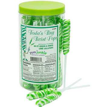 Tesla Pops Tiny Twist Green & White Lime Lollipops, 48 count