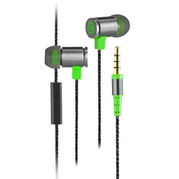 Cliptec Green BULLET Gaming Stereo 3.5mm Wired In-Ear Headphones Noise Isolation In-line Control Mic