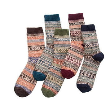 Clearance! Todaies 5 Pairs Womens Knit Printed Warm Wool Socks Hot Sale
