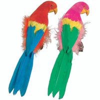 Pack of 6 Vibrant Brightly Colored Feathered Parrot Luau Party Decorations 12