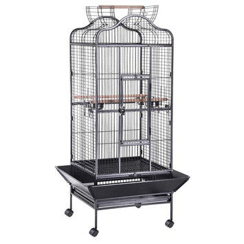 Yescom Large OpenTop Parrot Bird Cage DomeTop Play Top Vein Black Finch House Pet Supply