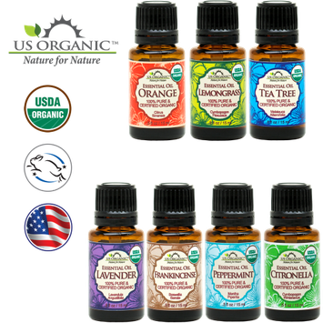 Us Organic 7 Essential Oil Collection, USDA Certified Organic. Therapeutic Grade. - 15 ml