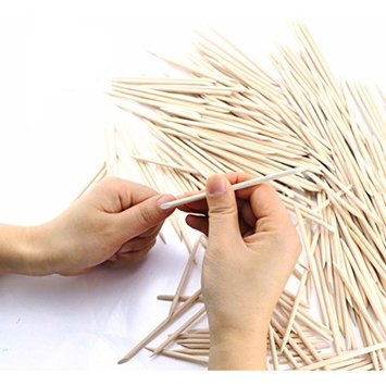 bested 300 Pcs 4.5 inch Double Sided Nail Art Wood Stick, Multifunctional Cuticle Pusher Remover Manicure Pedicure Tool