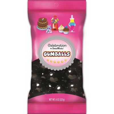 Sweetworks 226063 8oz. Bag of Gumballs - Black