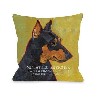 One Bella Casa Miniature Pinscher 1 Pillow for Pets, 16 by 16-Inch