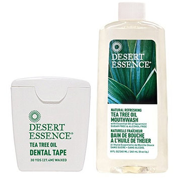 Desert Essence Tea Tree Oil Mouthwash and Waxed Dental Tape Floss Bundle With Spearmint, No Alcohol, Artificial Detergents, Color or Synthetic Perfumes, 8 fl. oz. and 30 yds. each