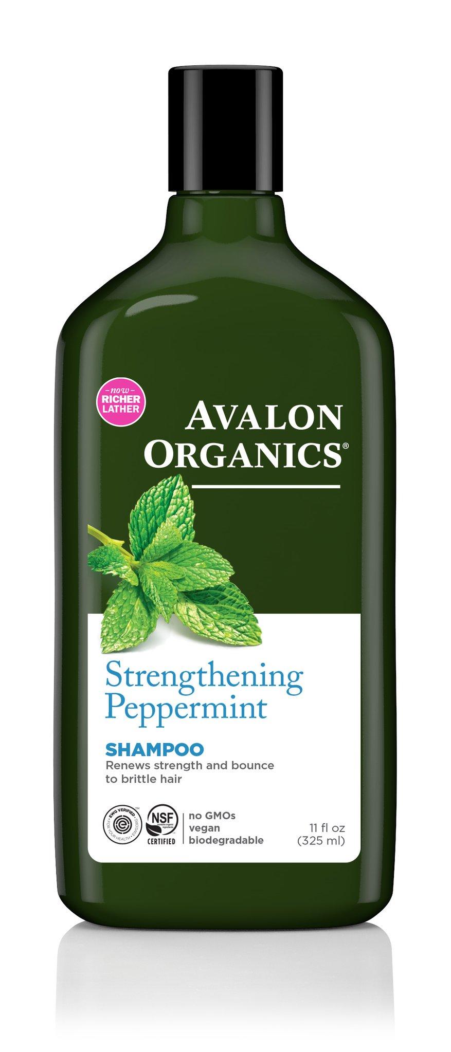 Avalon Organics Strengthenining Peppermint Shampoo, 11 Oz.