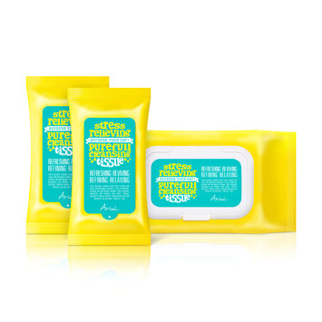 Ariul Stress Relieving Purefull Cleansing Tissue (130 wipes) Naturally Scented and Blended Makeup Removing Cleansing Tissue