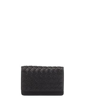 Woven Leather Flap-Style Credit Card Case, Black - Bottega Veneta