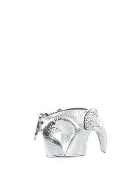 Loewe Elephant Bag Charm/Coin Purse, Gray Metallic