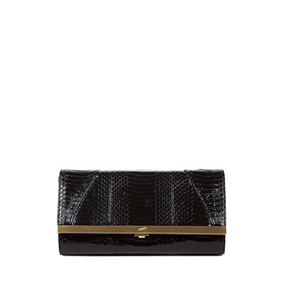 Khirma Katerine Python Clutch Bag, Black