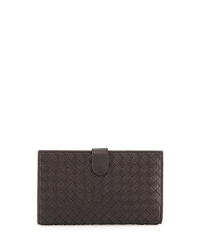 Intrecciato Lambskin Continental Wallet, Dark Brown - Bottega Veneta